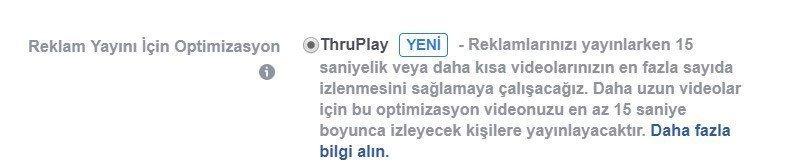 facebook thruplay nedir
